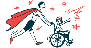 rare disease clinical trial participants | Sanfilippo Syndrome News | Illustration of woman in cape pushing child in wheelchair